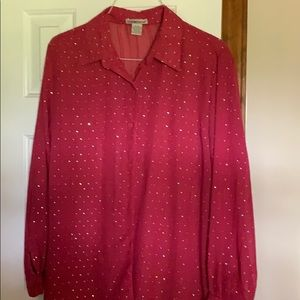 Notations sheer pink sparkly Blouse sz Xl. NWOT